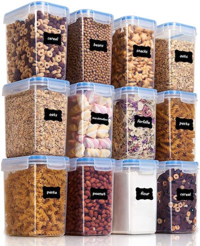 8. Vtopmart Airtight Food Storage Containers 12 Pieces 1.5qt / 1.6L- Small Plastic PBA Free Kitchen Pantry Storage Containers