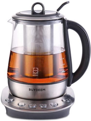 9. Buydeem K2423 Tea Maker, Durable 316 Stainless Steel & German Schott Glass Electric Kettle, Removable Infuser