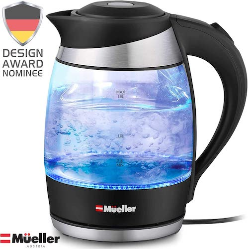 4. Mueller Premium 1500W Electric Kettle with SpeedBoil Tech, 1.8 Liter Cordless with LED Light, Borosilicate Glass