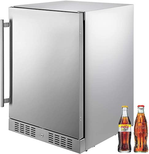 9.VBENLEM 24'' Built-in Stainless Steel Beverage Cooler 5.5 cu.ft. Soda & Beer Small Reversible Door Refrigerator