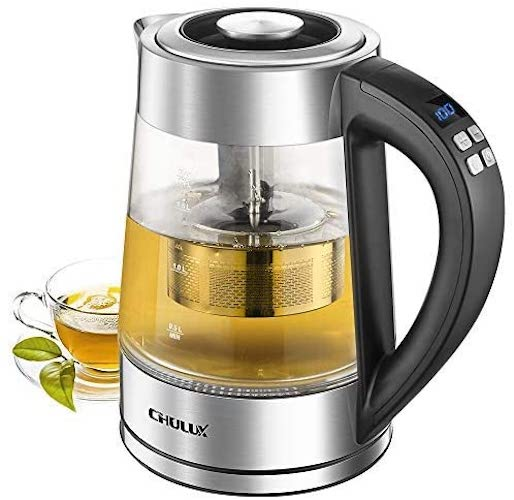 5. CHULUX 1.7L Electric Glass Kettle,Variable Temperature Hot Water Boiler with Removable Tea Filter