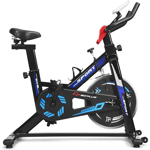 8. GYMAX Indoor Cycling Bike, Adjustable Exercise Bike with LCD Display, Professional Exercise Bike for Home Office Gym