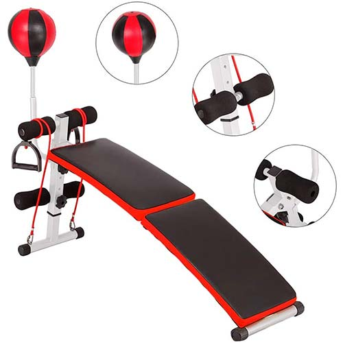 6. Tfwalog Adjustable Incline Weight Bench Curved Sit Up Bench Board Full Body Gym Weight Benches