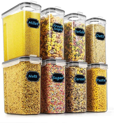 5. Cereal & Dry Food Storage Containers - Wildone Airtight Cereal Storage Containers Set of 8 [2.5L / 85.4oz] with Black Locking Lids