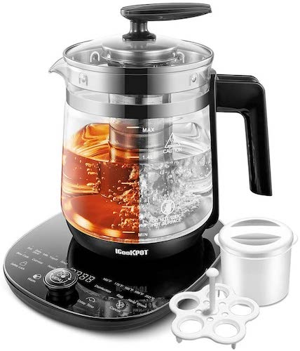 7. ICOOKPOT Electric Kettle Temperature Control Glass Tea Kettle Programmable Control Tea Pot, 2 Litter