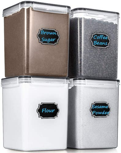 6. Large Cereal Storage Containers, Wildone Airtight Cereal & Dry Food Storage Containers Leak-proof with Black Locking Lids