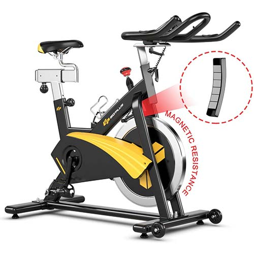 7. Goplus Magnetic Exercise Bike, Stationary Belt Drive Bicycle, with LCD Monitor, Indoor Cycling Bike for Home Gym Cardio Workout