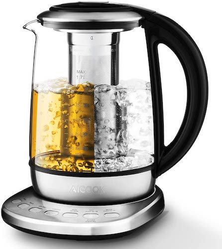 2. Aicook 2020 New Model Electric Kettle 1.7L Glass Tea Kettle with 5 Variable Presets, One Touch Tea Maker