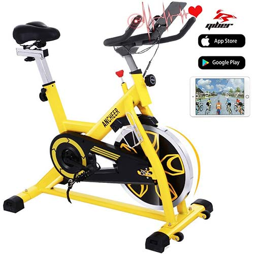 9. ANCHEER Indoor Cycling Bike, Stationary Exercise Bike with Heart Rate Monitor, Comfortable Seat Cushion