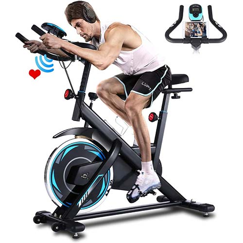 6. FUNMILY Indoor Exercise Bike Stationary, Cycling Bike-Belt Drive with Heart Rate Monitor & LCD Monitor, for Home Cardio Workout