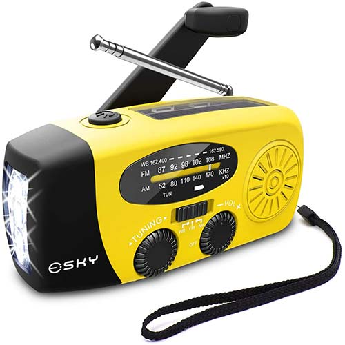 5. Esky Solar Weather Radios Hand Crank Self Powered Emergency FM/AM/NOAA Radio