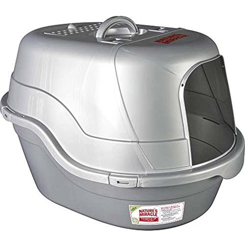 8. Nature's Miracle Oval Hooded Flip Top Litter Box