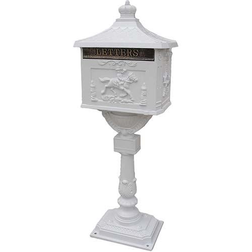 5. Mail Box Heavy Duty Mailbox Postal Box Security Cast Aluminum Vertical Pedestal