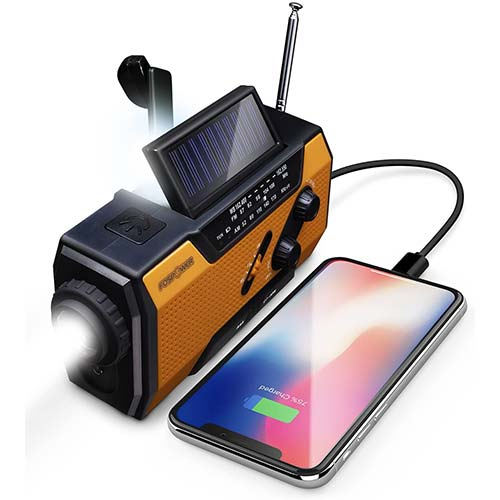 1. FosPower Emergency Solar Hand Crank Portable Radio