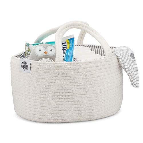 9. Parker Baby Rope Diaper Caddy Organizer