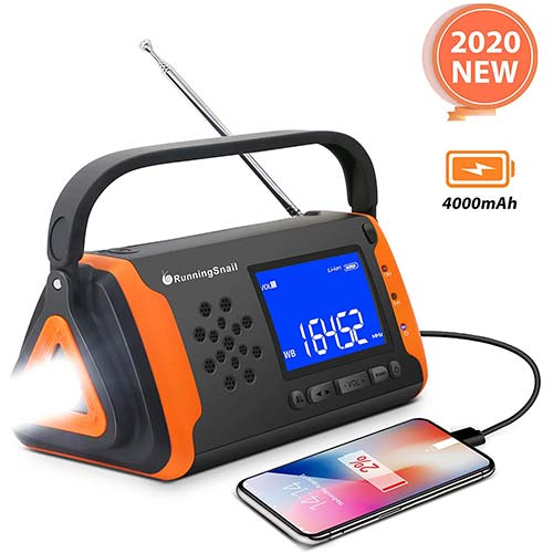 6. Emergency NOAA Weather Crank Solar Powered Portable Radio