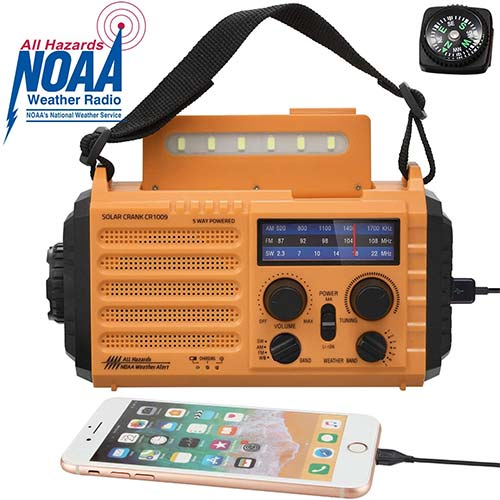 8. Solar Hand Crank Portable NOAA Weather Radio