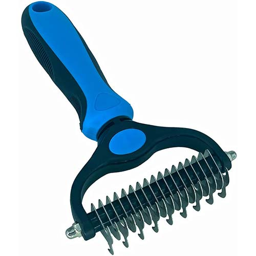 6. Pet Grooming Tools Dematting Brush-2 Sided and Safe Undercoat Rake-Deshedding Comb for Dogs and Cats