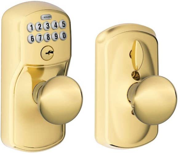 8. Schlage FE595 PLY 505 PLY Plymouth Keypad Entry with Flex-Lock and Plymouth Style Knobs
