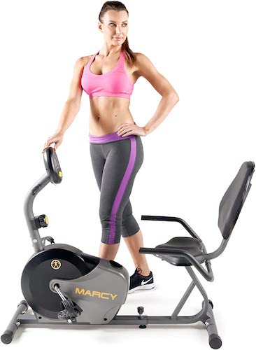 6. Marcy Magnetic Recumbent Bike with Adjustable Resistance and Transport Wheels NS-716R