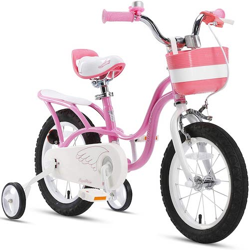 4. RoyalBaby Girl's Bike Little Swan for 3-9 Years Old 14 16 18 Inch Kids Bike with Training Wheels