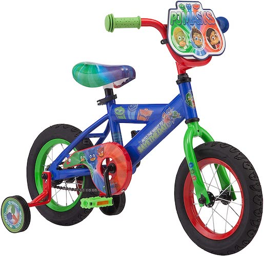 8. PJ Masks Kids Bike, Includes Training Wheels and Handelbar Plate