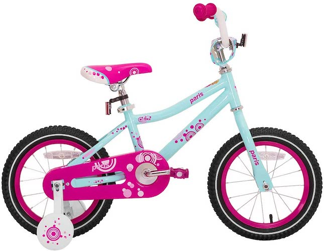 3. JOYSTAR Paris Girl's Bike for Ages 3-9 Years Old, Children Bike with Training Wheels for 12