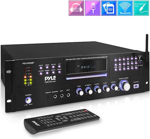 3. 4 Channel Pre Amplifier Receiver - 1000 Watt Rack Mount Bluetooth Home Theater