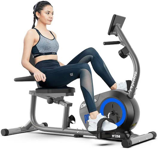 2. pooboo Magnetic Recumbent Exercise Bike Indoor Cycling Bike Stationary Bike