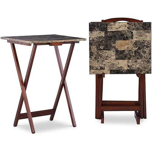 2. Linon Home Decor Tray Table Set, Faux Marble