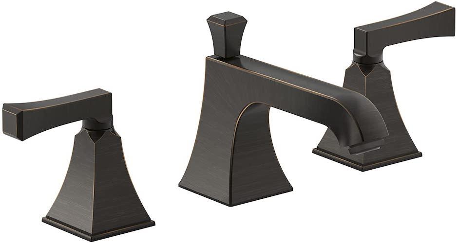 9.Kohler K4544V2BZ Memoirs Widespread Bathroom Sink Faucet with Deco Lever Handles, Oil-Rubbed Bronze