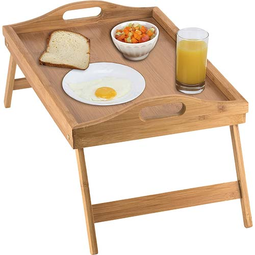 10. Home-it Bed Tray table with folding legs and breakfast tray Bamboo bed table and bed tray