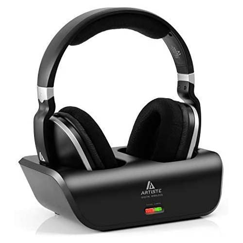 9. ARTISTE Wireless TV Headphones Over Ear Headsets - Digital Stereo Headsets with 2.4GHz RF Transmitter, Charging Dock