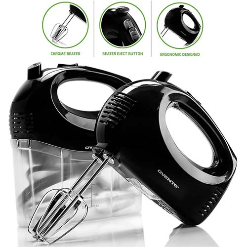 3. Ovente Electric Hand Mixer with 5 Speed Ultra-Mixing Power and Snap-On Storage Case, 2 Stainless Steel Beater Attachments