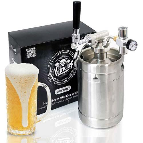 4. Pressurized Beer Mini Keg System - 64oz Stainless Steel Growler Tap, Portable Mini Keg Dispenser Kegerator Kit