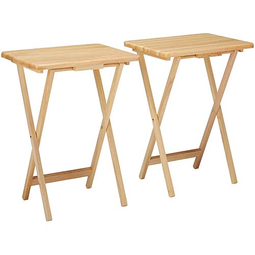 7. Winsome Alex 2-pc Set TV Table, Natural