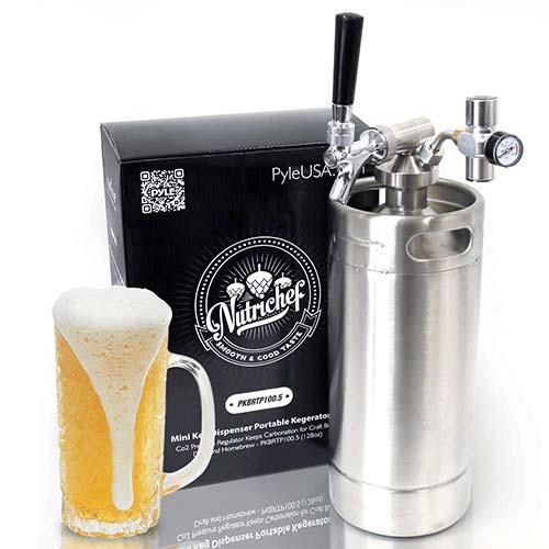 2. NutriChef Pressurized Growler Tap System - Stainless Steel Mini Keg Dispenser Portable Kegerator Kit