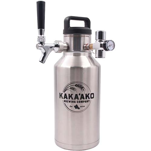 3. Kakaako Brewing Co - 64 oz Pressurized Growler and Dispenser Tapping System with CO2 Regulator