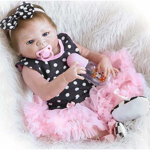 4. Full Body Silicone Reborn Baby Dolls Girl Realistic Anatomically Correct Vinyl Silicone Baby Girl Reborn Doll