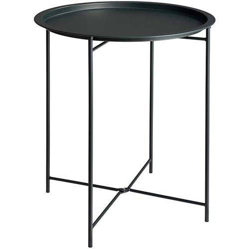 9. Furnius Folding Tray Metal Side Table, Sofa Table Small Round End Tables, Anti-Rust and Waterproof