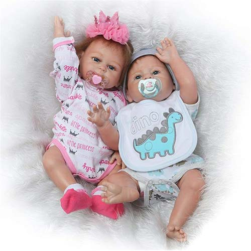 10. Silicone Full Body Reborn Baby Dolls Twins Boy and Girl 20 inch Anatomically Correct Newborn Size Bebe