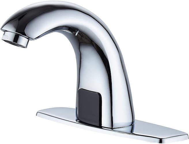 2.Luxice Automatic Touchless Bathroom Sink Faucet with Hole Cover Plate, Sensor Hands Free Bathroom Water Tap