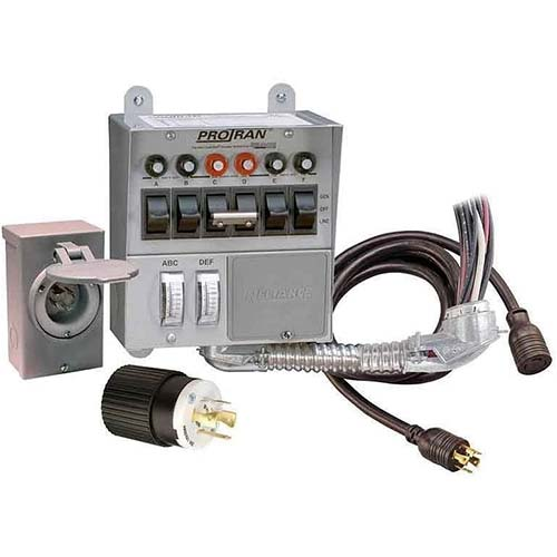 1. Reliance Controls Corporation 31406CRK 30 Amp 6-circuit Pro/Tran Transfer Switch Kit for Generators (7500 Watts)