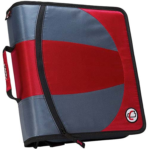 8. Case-it Dual 2-in-1 Zipper D-Ring Binder, 2 Sets of 1.5-Inch Rings with Pencil Pouch, Red, DUAL-101-RED