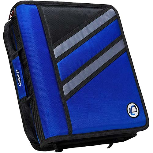 10. Case-it Z-Binder Two-in-One 1.5-Inch D-Ring Zipper Binders, Blue, Z-176-BLU