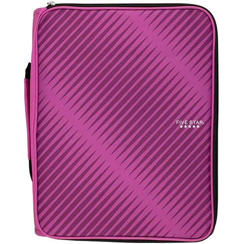 4. Five Star Zipper Binder, 2 Inch 3 Ring Binder, 6-Pocket Expanding File, Durable, Berry Pink/Purple (72540)