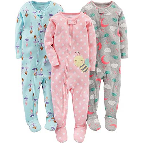 7. Simple Joys by Carter's Baby and Toddler Girls' 3-Pack Snug Fit Footed Cotton Pajamas