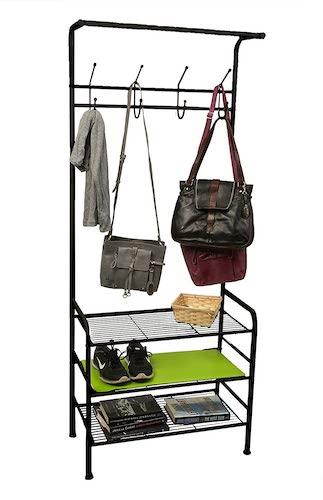 5.Mind Reader Metal Coat, Shoe Rack, Purses, Scarf, Shelving Organizer