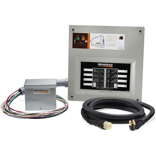 6. Generac 9855 HomeLink 50-Amp Indoor Pre-wired Upgradeable Manual Transfer Switch Kit for 10-16 circuits