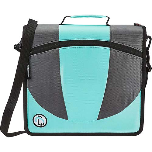 1. Case-it Dual 2-in-1 Zipper D-Ring Binder, 2 Sets of 1.5-Inch Rings with Pencil Pouch, Mint, DUAL-101-MNT